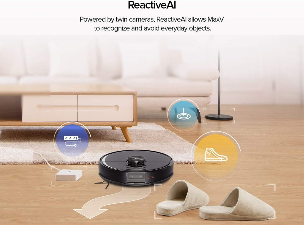 Roborock S6 MaxV ReactiveAI allows MaxV to recognize and avoid everyday objects