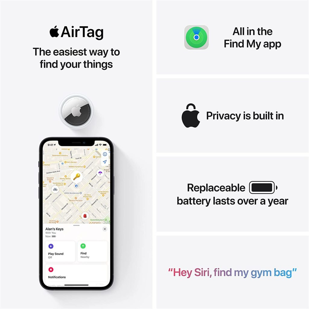 New Apple AirTag Location data and history are never stored on AirTag