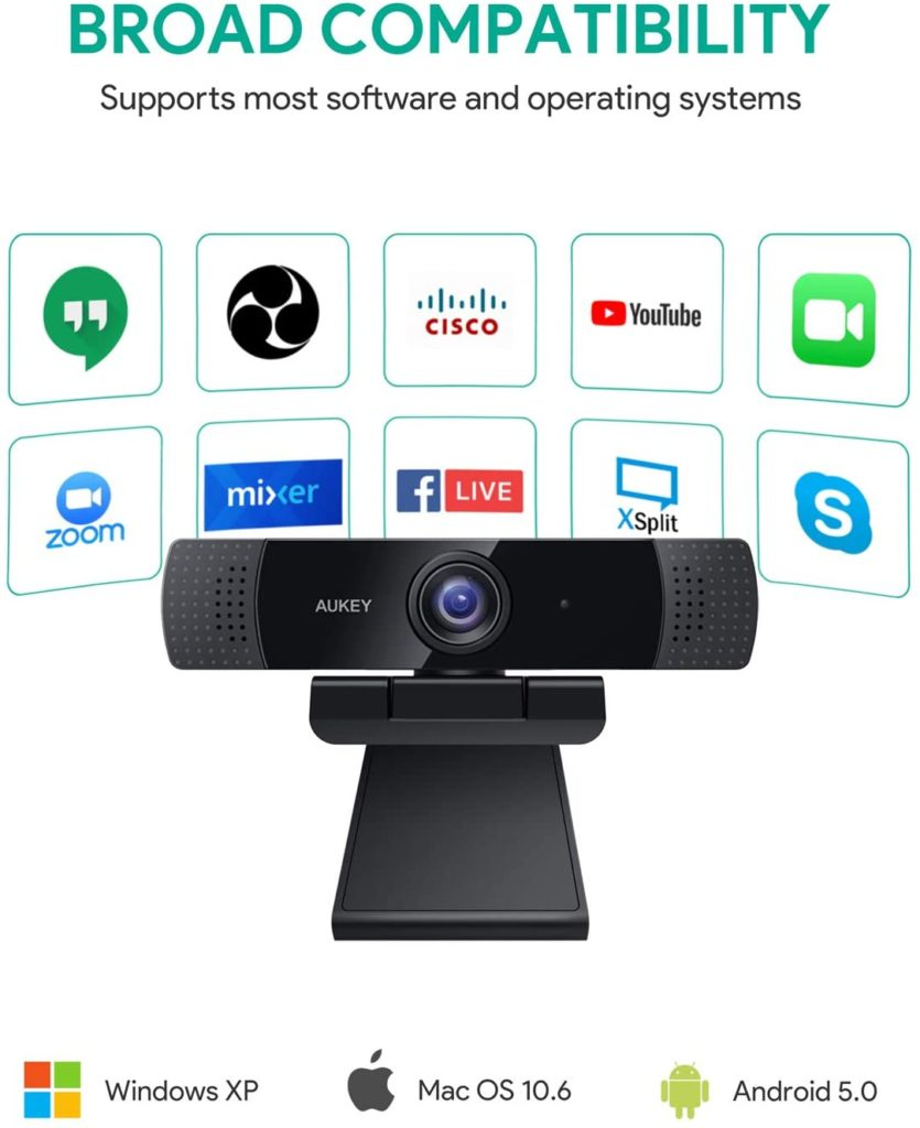 AUKEY FHD Webcam 1080p Compatible with Zoom, Teams, Youtube, Skype, Cisco, and Facebook