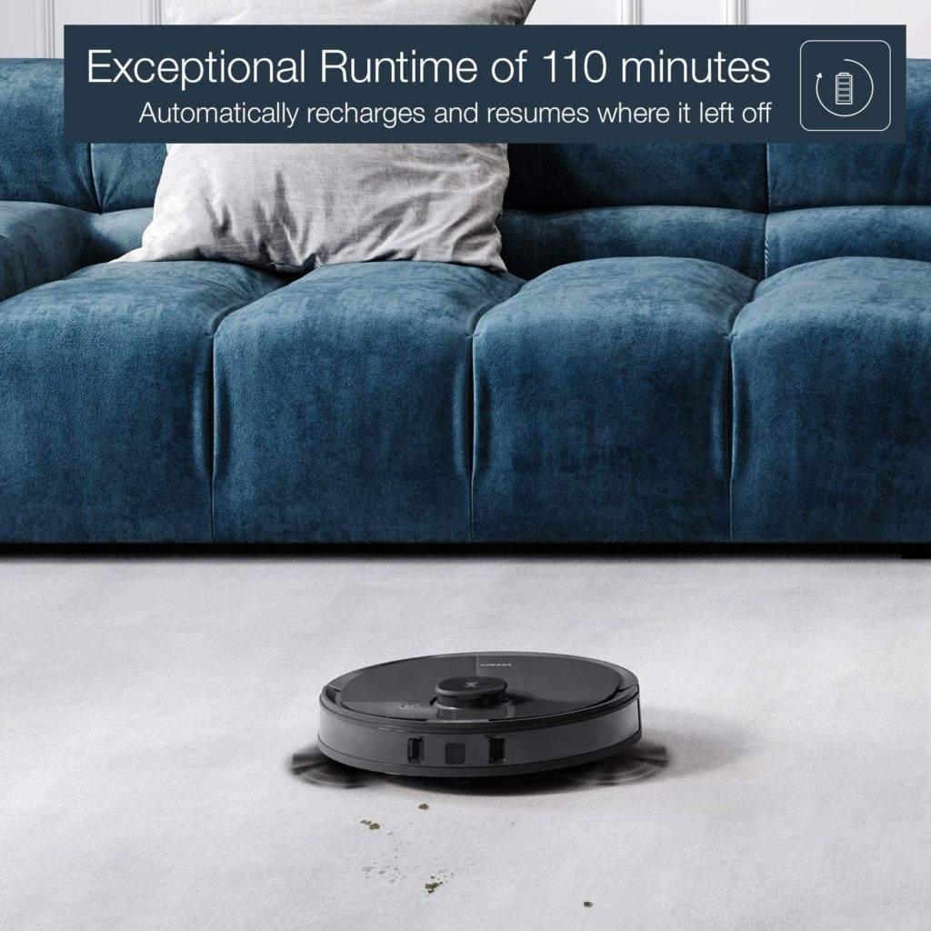 Ecovacs Deebot N8 Pro+ runtime of 110 minutes