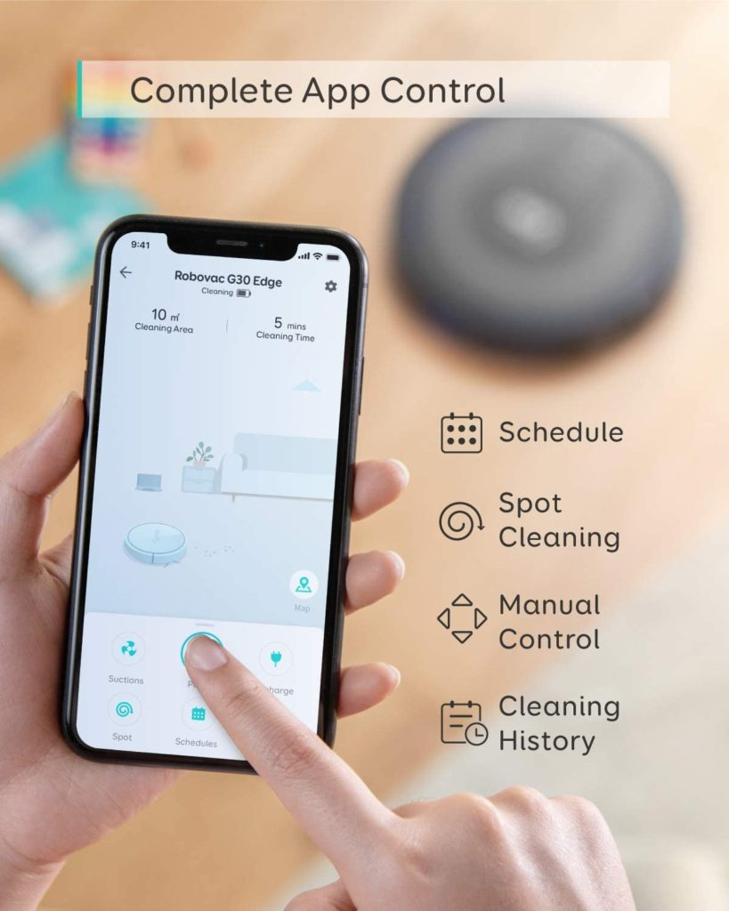 eufy by Anker, RoboVac G30 Edge, Robot Vacuum Complete app control schedule, spot cleaning, manual control